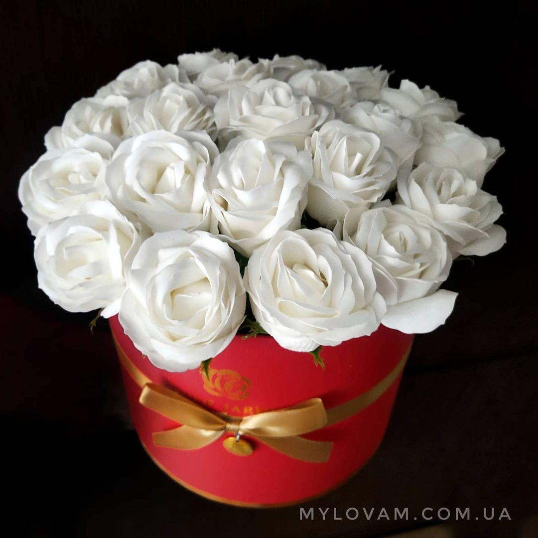 Букет з мила ручної роботи, мильна букет, 21 троянда з мила, композиція троянди з мила, нев'янучі квіти