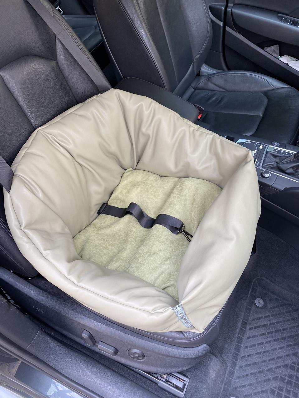 Автогамак і автокрісло для перевезення собак в машині розмір 40*40 см фісташка еко шкіра