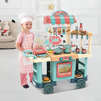 Детский игровой набор интерактивная кухня-уличная тележка с кассой и посудой 90 см