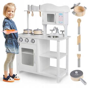 Детская интерактивная деревянная кухня RICOKIDS белая 85 см.