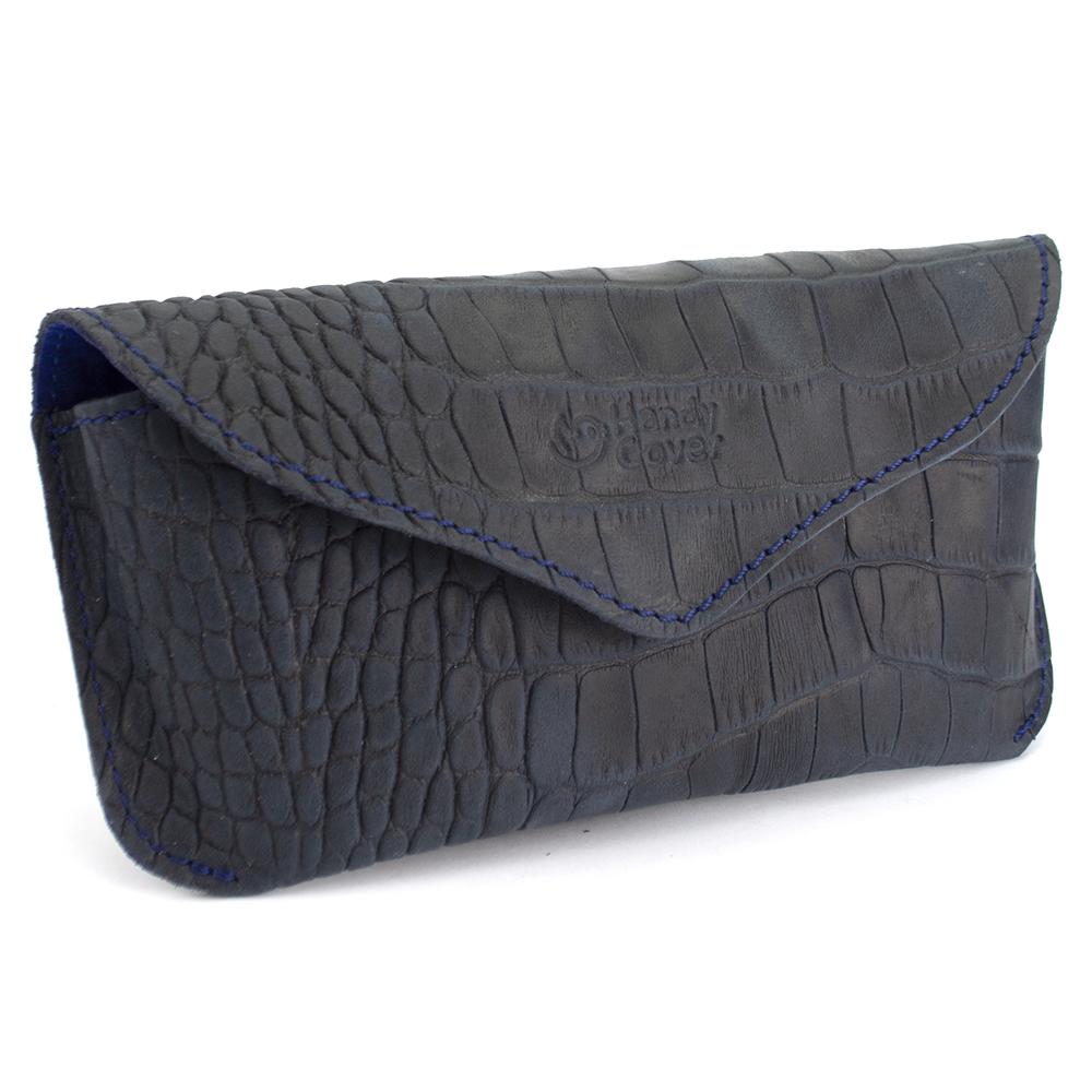 Футляр для очков кожаный Handycover HC0085 (синий крокодил)
