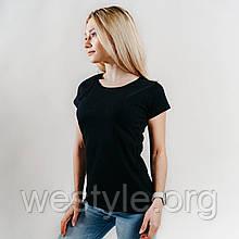Футболка женская однотонная хлопковая - черный цвет