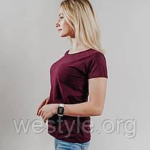 Футболка женская однотонная хлопковая -  бордовый цвет