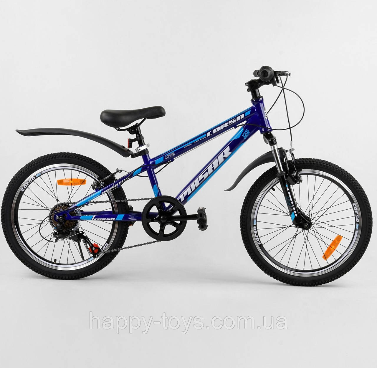 Детский спортивный велосипед для мальчика 20 дюймов Синий CORSO Pulsar метал рама 7 скоростей
