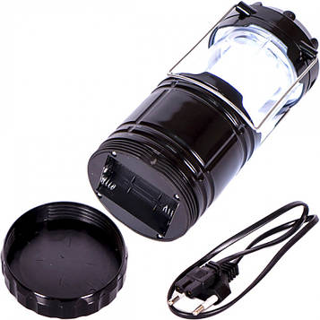 Фонарь кемпинговый LED черный заряжаемый от солн. батареи, от сети220 В,от USB, от 3-х батареек АА 19х9х9см