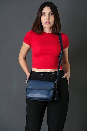 Жіноча шкіряна сумка Берті, натуральна шкіра італійський Краст, колір Синій, фото 2