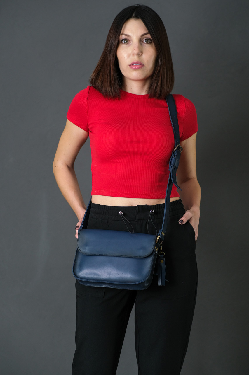 Жіноча шкіряна сумка Берті, натуральна шкіра італійський Краст, колір Синій