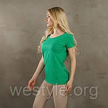 Футболка женская однотонная хлопковая - ярко-зеленый цвет