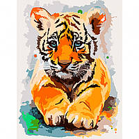 Набор картина по номерам Тигренок 30х40см, акриловые краски, кисти, холст, фото 1