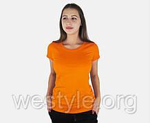 Футболка женская однотонная хлопковая -  оранжевый цвет