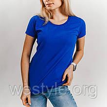 Футболка женская однотонная хлопковая - ярко-синий цвет