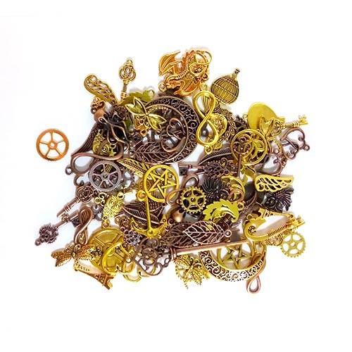 Набір з 100 металевих підвісок шармов шармиков, змішані, золото, 100695