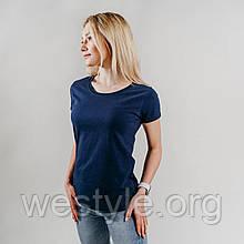 Футболка жіноча бавовняна - глибокий темно-синій колір