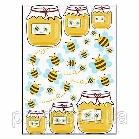 Баночка меду і бджілки 1 вафельна картинка