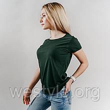 Футболка женская однотонная хлопковая - темно-зеленый цвет