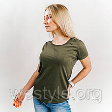 Футболка женская однотонная хлопковая - оливковый цвет