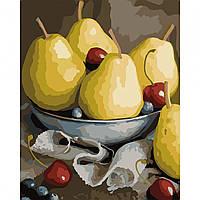 Набор картина по номерам Натюрморт с грушами 40х50см, акриловые краски, кисти, холст, фото 1