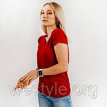 Футболка женская однотонная хлопковая - кирпично-красный цвет