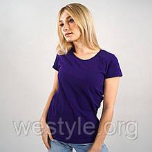 Футболка женская однотонная хлопковая - фиолетовый цвет