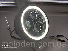 """Фара LED A023GN (белые ангельские глазки) 6,5 """" (диаметр крепления 16см)"""