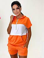 Яркий летний женский трикотажный костюм с шортами, фото 1