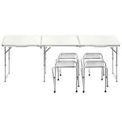 Стол складной Lanyu L-3 White с 4 стульями садовый туристический для пикника кемпинга