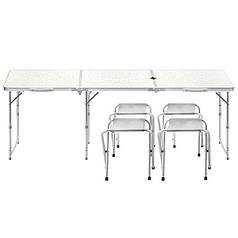 Стіл складаний Lanyu L-3-U White з 4 стільцями і отвором для парасольки туристичний для пікніка