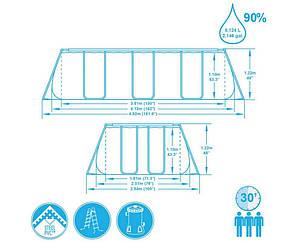 Каркасный бассейн Bestway 56457 прямоугольный 412 x 201 x 122 см, насос, лестница, фото 2