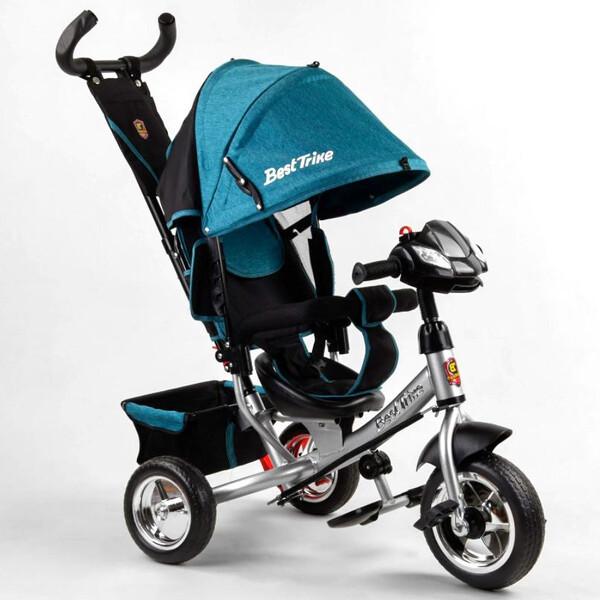 Велосипед дитячий з фарою і ручкою триколісний Best Trike колеса піна Бірюзовий (58576)