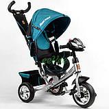 Велосипед дитячий з фарою і ручкою триколісний Best Trike колеса піна Бірюзовий (58576), фото 2