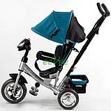 Велосипед дитячий з фарою і ручкою триколісний Best Trike колеса піна Бірюзовий (58576), фото 4