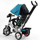 Велосипед дитячий з фарою і ручкою триколісний Best Trike колеса піна Бірюзовий (58576), фото 5