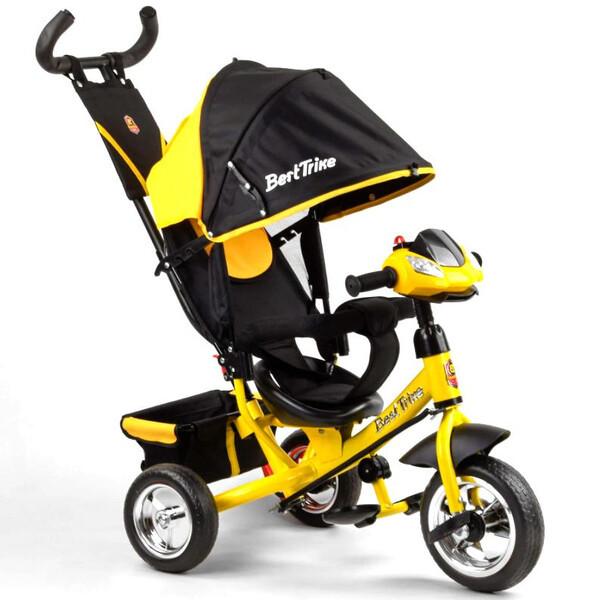 Детский велосипед трехколесный с ручкой фарой Best Trike колеса пена 1-3 года Желтый (58579)
