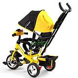 Детский велосипед трехколесный с ручкой фарой Best Trike колеса пена 1-3 года Желтый (58579), фото 5