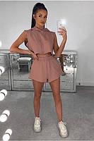 Літній жіночий спортивний костюм з трикотажу з шортами і топом (Норма), фото 3