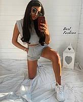 Літній жіночий спортивний костюм з трикотажу з шортами і топом (Норма), фото 5