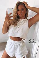 Літній жіночий спортивний костюм з трикотажу з шортами і топом (Норма), фото 10
