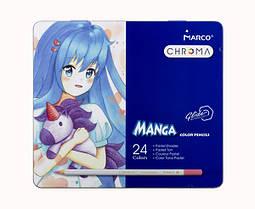 Олівці кольорові пастельні 24 кольору Marco Chroma(Manga) у металевому пеналі 8550-24TN