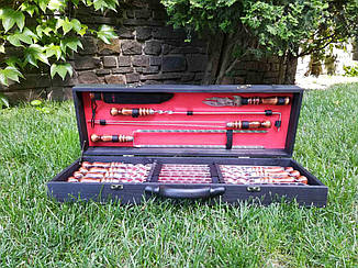 """Набор 8 шампуров для люля-кебаб """"Vip"""" + набор из 4 аксессуаров в деревянном кейсе (720х20х3 мм)"""