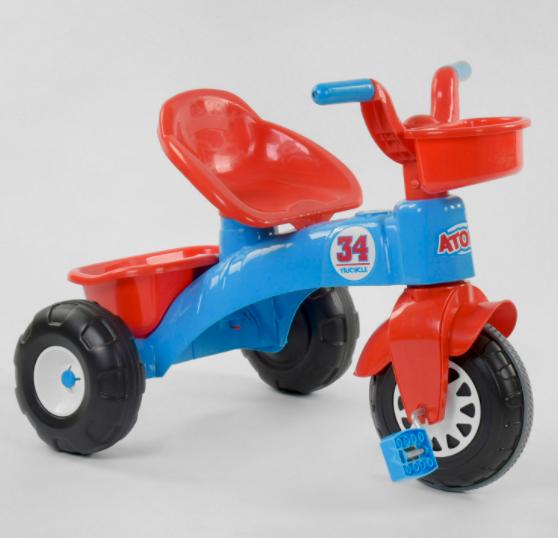 Велосипед дитячий триколісний 07-169 на пластикових колесах з прогумованої накладкою / червоно-синій