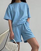 Літній жіночий спортивний костюм в стилі oversize з футболкою і шортами (Норма і батал), фото 2
