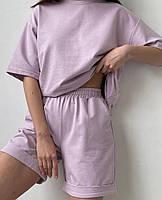 Літній жіночий спортивний костюм в стилі oversize з футболкою і шортами (Норма і батал), фото 3