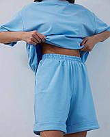 Літній жіночий спортивний костюм в стилі oversize з футболкою і шортами (Норма і батал), фото 4