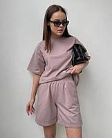 Літній жіночий спортивний костюм в стилі oversize з футболкою і шортами (Норма і батал), фото 5