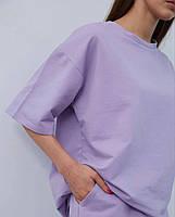 Літній жіночий спортивний костюм в стилі oversize з футболкою і шортами (Норма і батал), фото 6