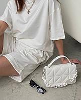 Літній жіночий спортивний костюм в стилі oversize з футболкою і шортами (Норма і батал), фото 9