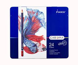 Олівці кольорові 24 кольору Marco Chroma в металевому пеналі 8010-24TN