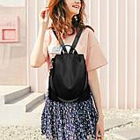 Рюкзак сумка антивор женский городской черный Код 10-0100, фото 2
