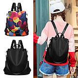 Рюкзак сумка антивор женский городской черный Код 10-0100, фото 6