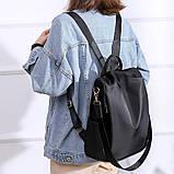 Рюкзак сумка антивор женский городской черный Код 10-0100, фото 7